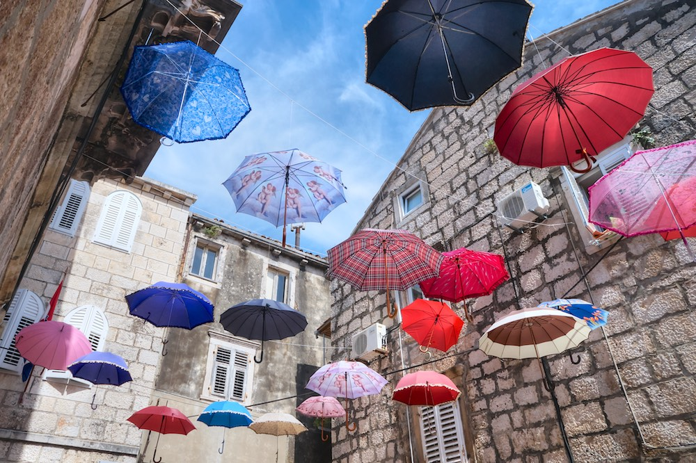 Guarda-chuvas, Korcula, Croácia