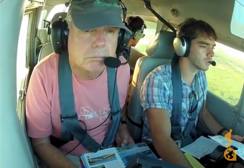 Don Johnson and Gusti Junqueira looking for runaway to land in the cessna 172