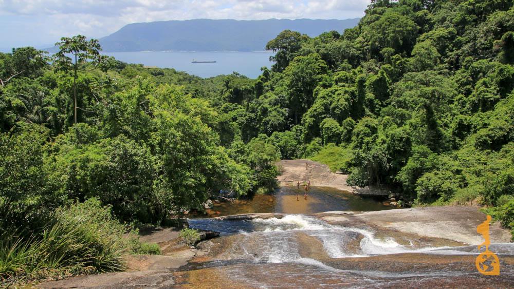 cachoeira com vista para o mar bexiga ilhabela